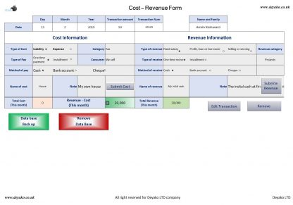 Manage Personal Cost and revenue