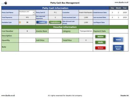 Petty cash Management Cover