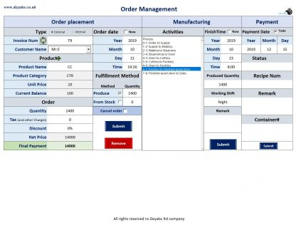 Manage orders and production